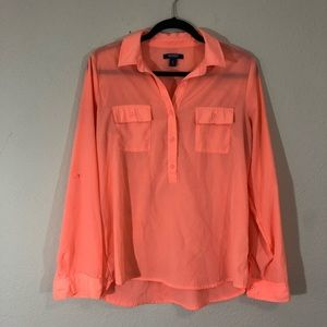 Old Navy quarter sleeve button up chiffon blouse
